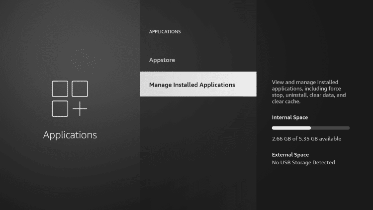 Click Managed Installed Applications.