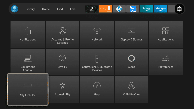 Hover over the Settings icon and select My Fire TV.