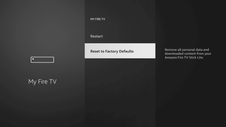 Scroll down and choose Reset to Factory Defaults.