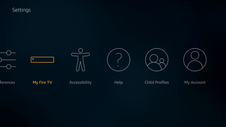 From the main menu, hover over Settings and scroll to the right to click My Fire TV.