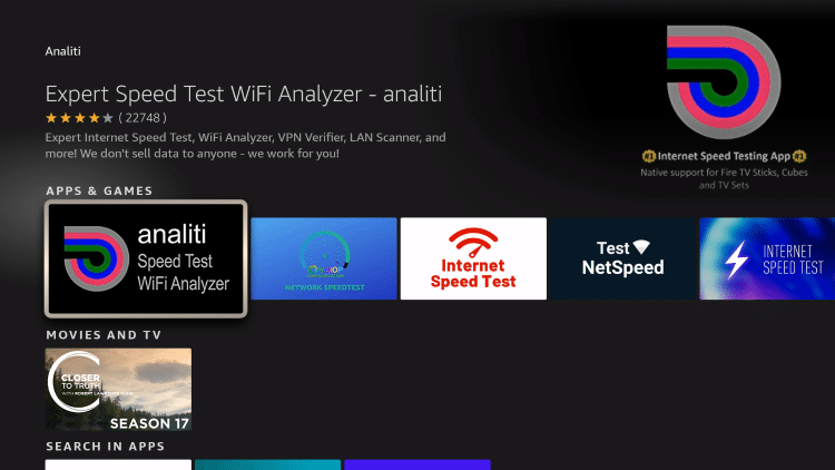 choose aniliti speed test
