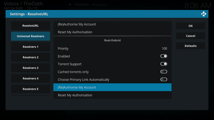 Within the Universal Resolvers menu on the left, scroll down and choose (Re)Authorise My Account under Real-Debrid.