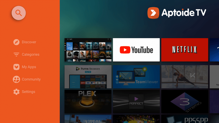 Launch Aptoide TV and click the search icon
