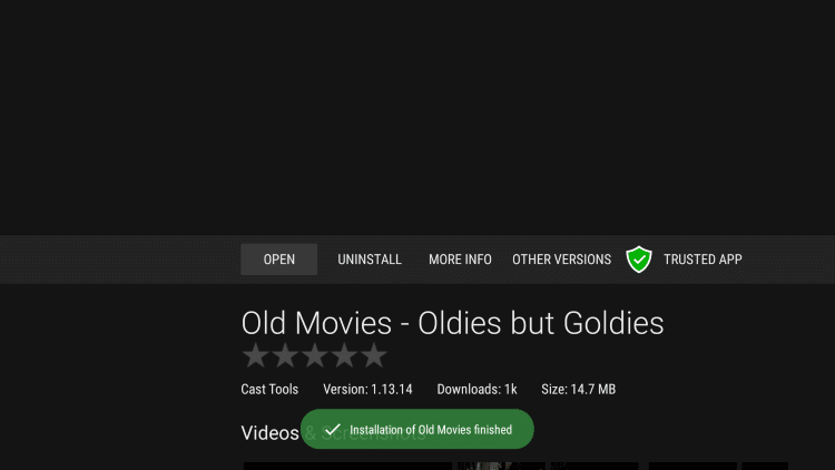 "Wait a few seconds until you receive a message saying ""installation of Old Movies finished."""