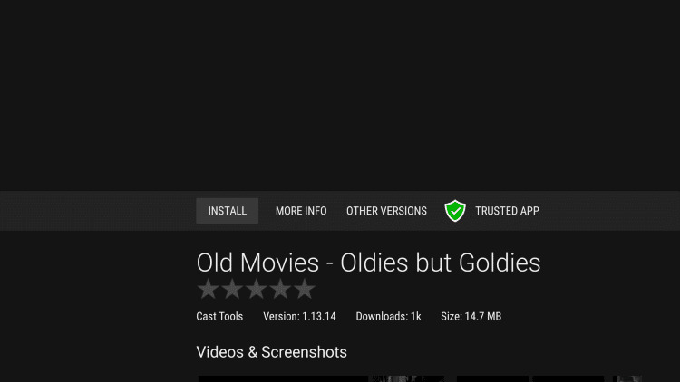 click install old movies app