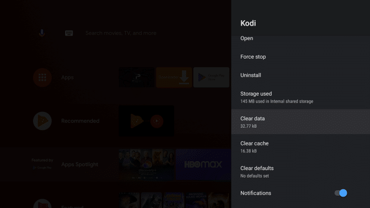 Click Clear data to reset kodi on android