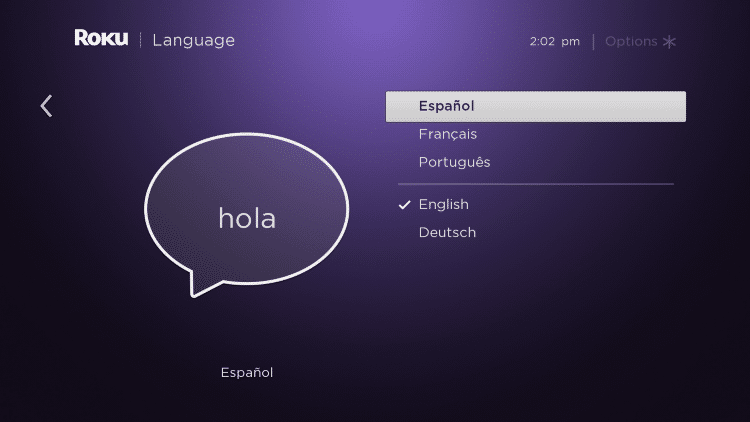 select your preferred language