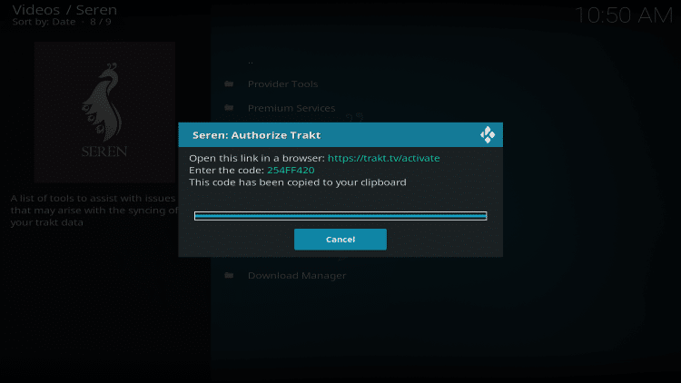 go to trakt.tv/activate and enter code