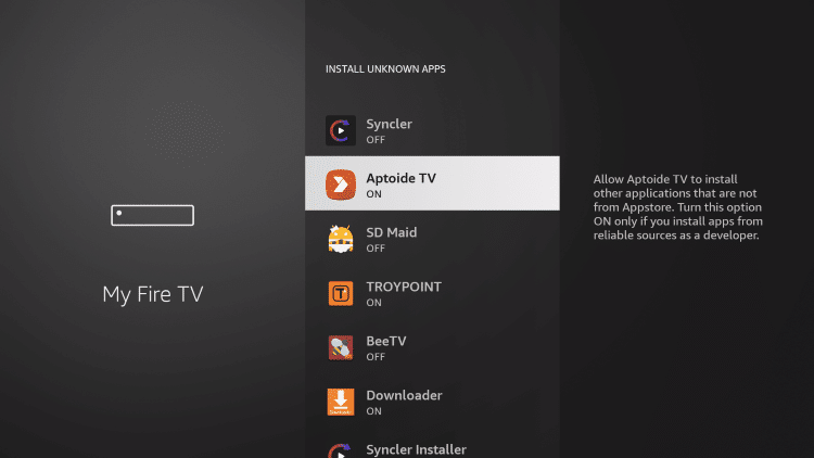 enable unknown sources to sideload on your fire tv