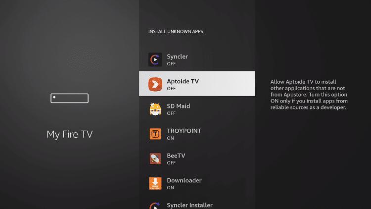 click aptoide tv