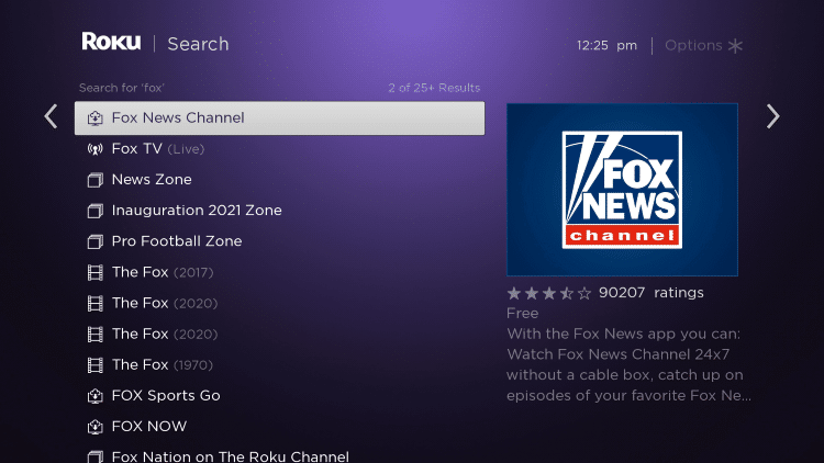 Click the first Fox News Channel that appears.