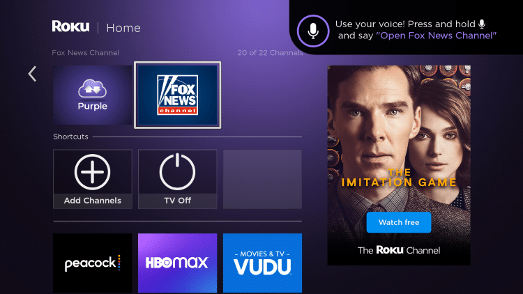 Locate and select Fox News from your home screen.