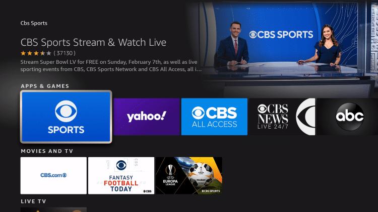 choose the CBS Sports App
