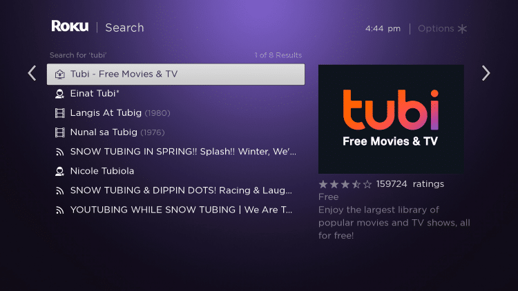 choose the tubi app