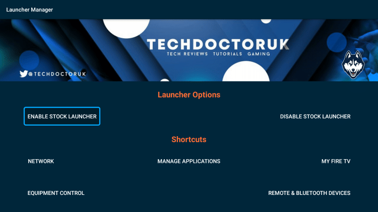 Select Enable Stock Launcher.