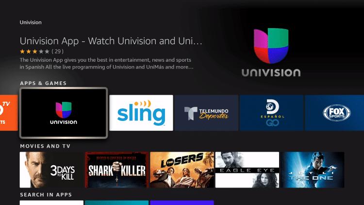 choose univision app