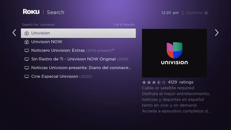 click univision app