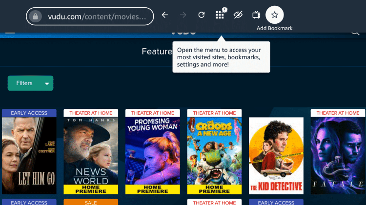 You can click the star icon on the top menu to add Vudu as a bookmark.