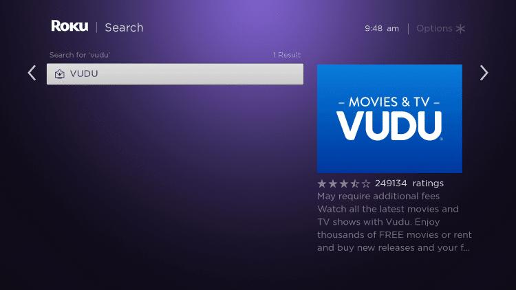 Choose the Vudu app
