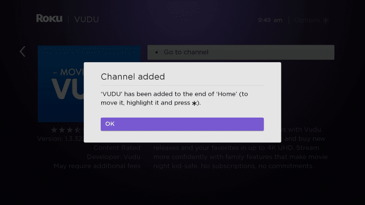 Wait for the Vudu app to install and click OK