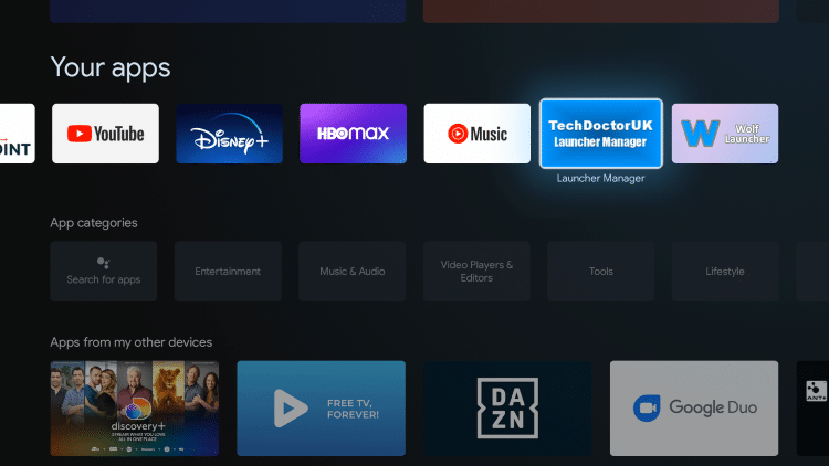 Return back to the home screen on your device and select the Launcher Manager app.
