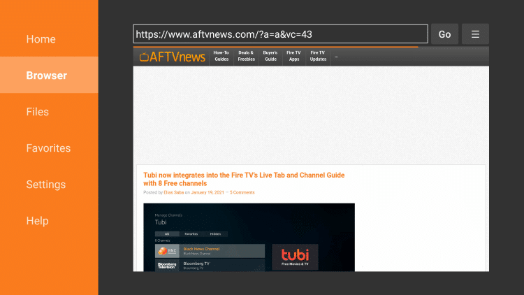 Launch the Downloader app and click Browser.