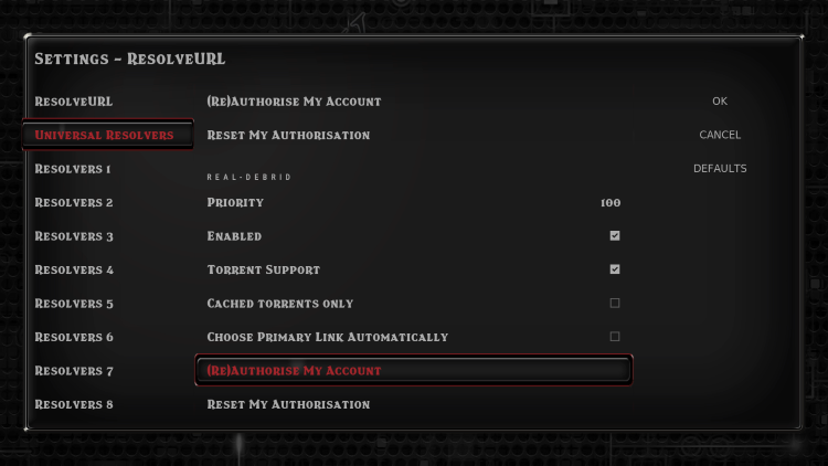 Within the Universal Resolvers menu on the left, scroll down and select (Re)Authorise My Account under the Real-Debrid heading.