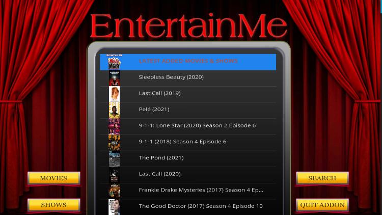 EnterTain Me home screen