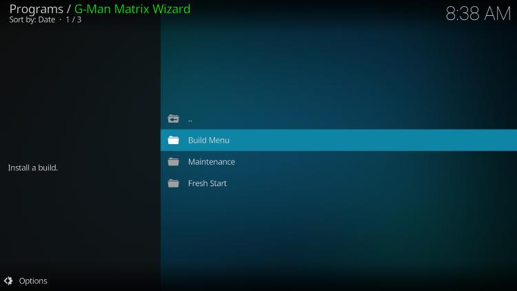 click build menu