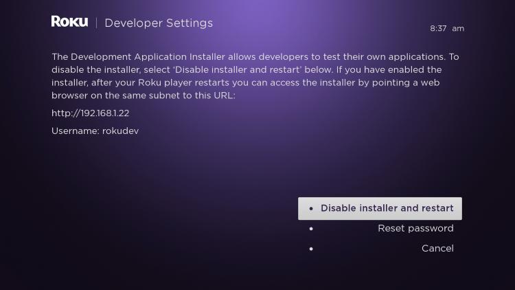 enter developer settings prompt for streaming iptv on roku