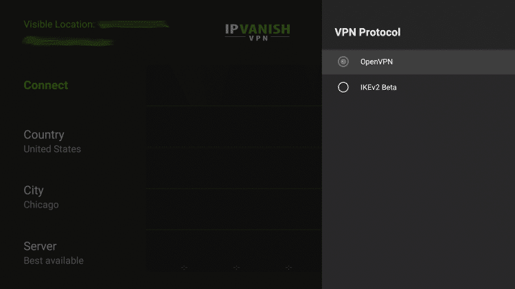 Select the VPN protocol you want to use.
