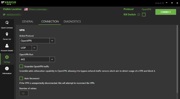Select Connection in the upper menu and choose whichever protocol you prefer under the Active Protocol drop down.