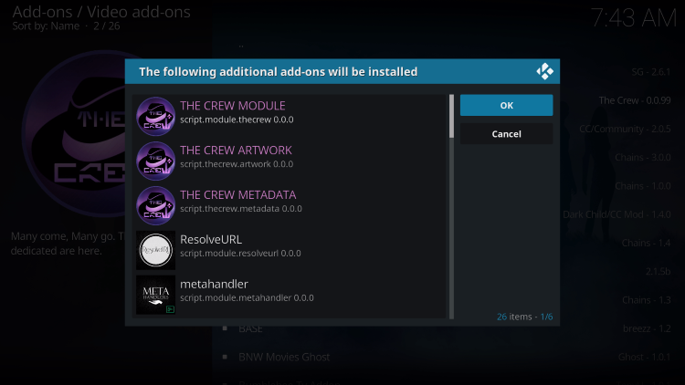"Kodi will then prompt the message below stating ""The following additional add-ons will be installed"", Click OK"