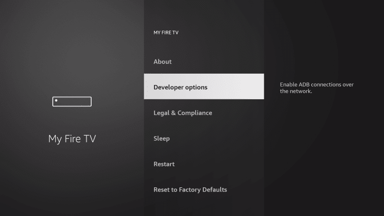 Choose Developer options to jailbreak firestick