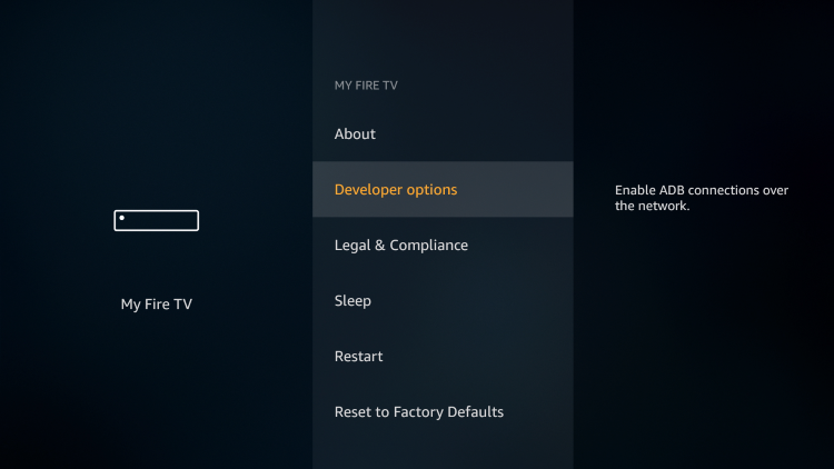Click Developer Options to jailbreak firestick