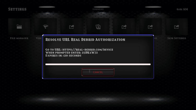 This screen will appear. Write down the codeprovided.