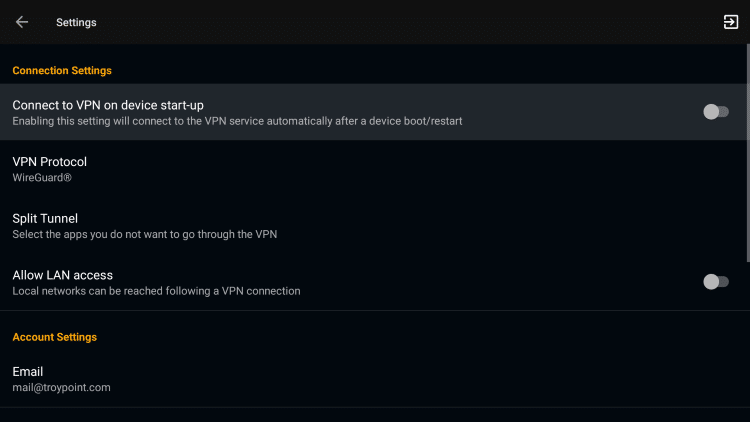 Connect to VPN on device start-up will automatically launch the application when the Firestick or Fire TV is turned on.