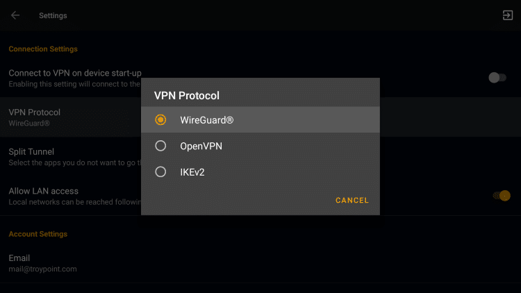 The available VPN Protocols within StrongVPN include WireGuard®, IKEv2, OpenVPN (TCP), and OpenVPN (UDP).