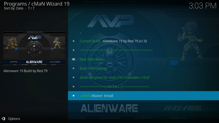 Click Install alienware kodi build