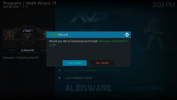 Click Yes, Install alienware kodi build