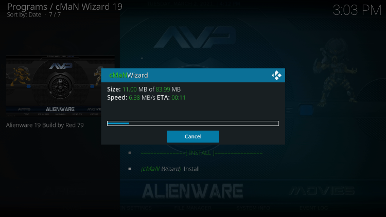 Wait for the alienware kodi build to install