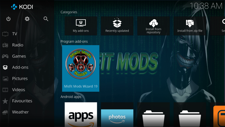 Return to the Kodi home-screen and under add-ons choose Misfit Mods Wizard 19