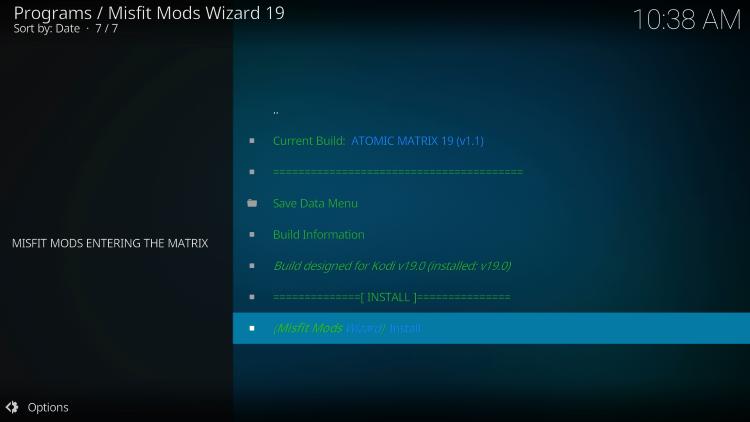 Click Install atomic matrix kodi build