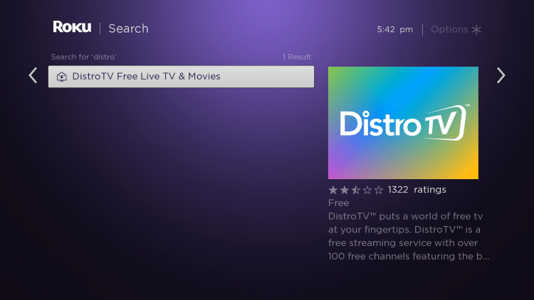 Click the first option for DistroTV