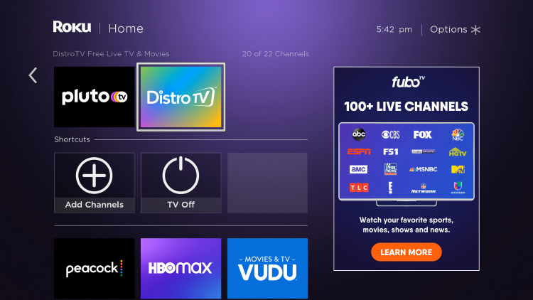 Return to the home screen and locate DistroTV