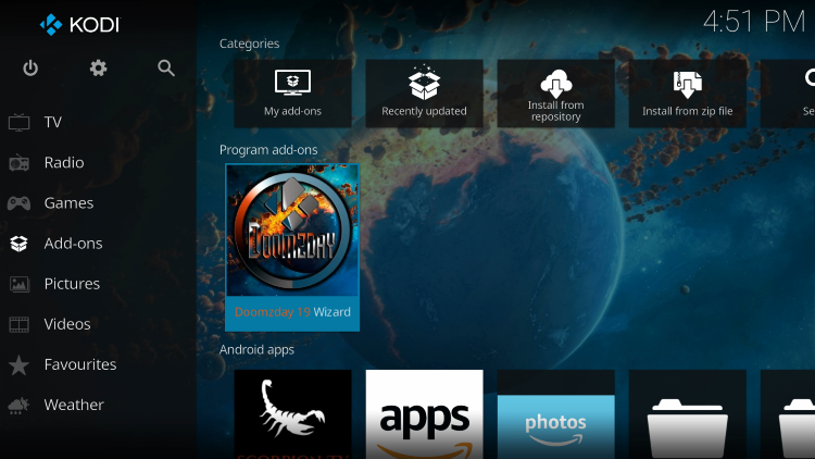 Return to the Kodi home-screen and under add-ons choose Doomzday 19 Wizard