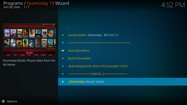 click install doomzday bk19 kodi build