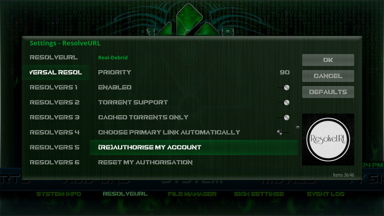 Within theUniversal Resolversmenu on the left, scroll down and select(Re)Authorise My Accountunder theReal-Debridheading.