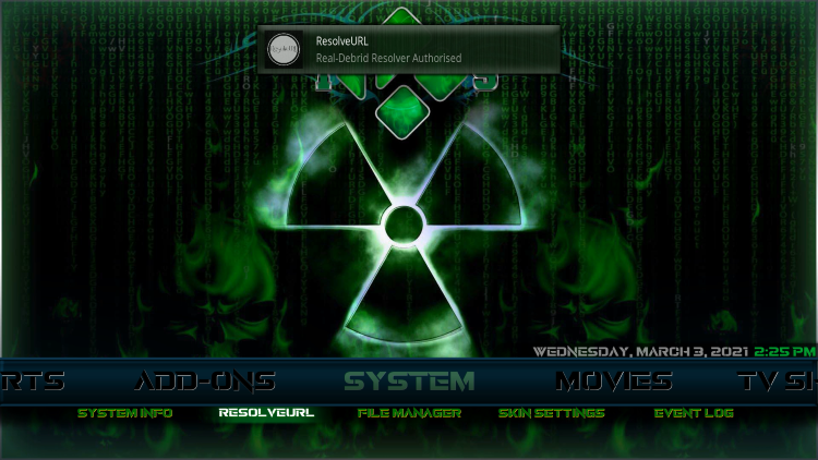 That's it! You have integrated Real-Debrid within the Fallout Kodi Build.