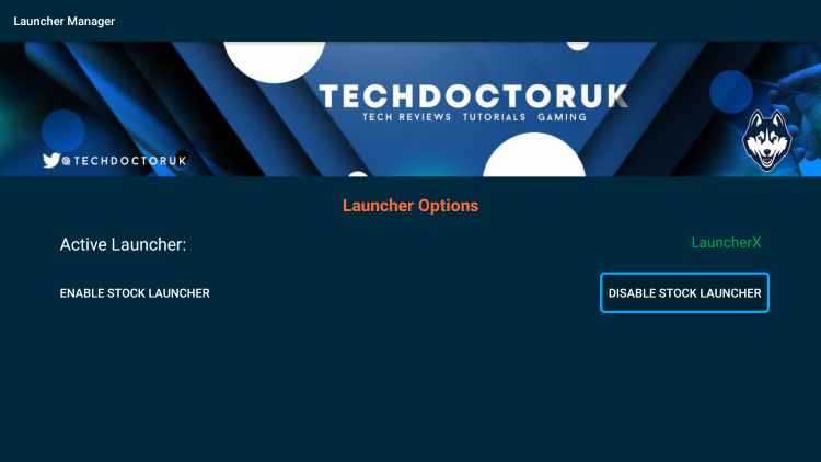 Click Disable Stock Launcher.
